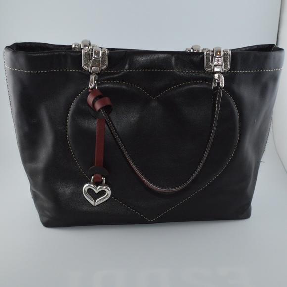 Brighton Handbags - Brighton Blk Glove Leather Handbag Stitched Heart